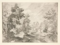 Untitled (Landscape with figures in boat in foreground)