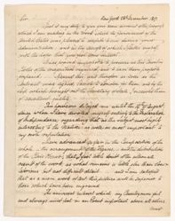 Letter of John Trumbull (1756-1843) to President Madison, dated New York 28th Dec. 1817