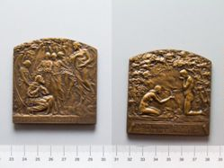 Bronze Plaquette from Belgium of Blessed John of Ruysbroeck / Dutch-Belgium Society of the Friends of the Art Medal