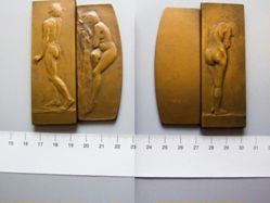 Bronze Medal Austria, Nude Male and Female (in two pieces) by R. Placht