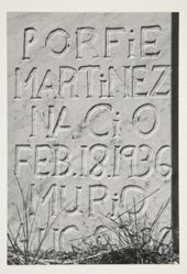 A grave marker of marble