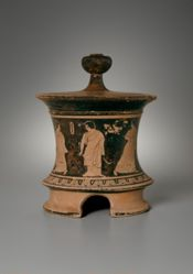 Tripod pyxis with lid showing four women in a domestic interior