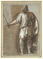 Standing Warrior, from Polidoro's Mucius Scaevola  frieze at Palazzo Ricci, Rome