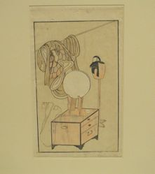 Still Life of actor's dressing room from a book, Yakusha butai ōgi