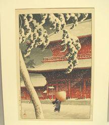 Snow Scene at Shiba Zojoji Temple, Tokyo