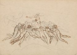 Nudes Playing Blind Man's Bluff (recto); A Procession of Demons and a Procession of Gods and Goddesses (verso)