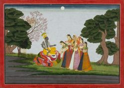 Krishna Returns to the Gopis, from a History of the Lord (Bhagavata Purana) manuscript