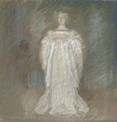 Study of lady in white dress, hands clasped