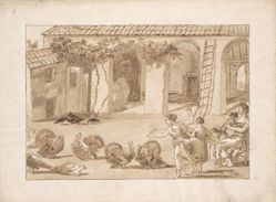 Turkeys in a Venetian Farmyard, the third drawing in Tiepolo's series of 59 scenes of contemporary life.
