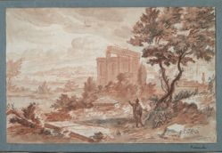 Landscape with ruins and two figures