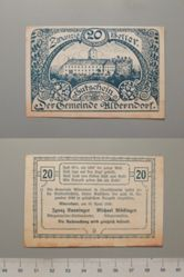 20 Heller from Alberndorf,  issued 25 April 1920, redeemable 31 Dec. 1920, Notgeld