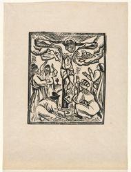 Linoleum block for Crucifixion