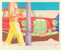 Red Mercedes, one of ten prints in a portfolio