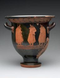 Red-Figure Bell Krater; A: Dionysos, Maenad, and Silen; B: Youths