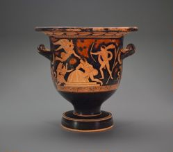 Bell Krater: A, Orestes at the Altar of Apollo at Delphi; B, Three standing Men