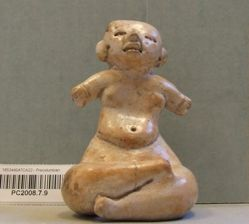 Seated female figurine with outstretched arms