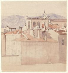 View in Florence: Housetops (right half). Verso: ledger sheet