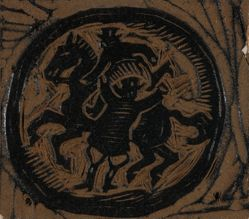Linoleum block for Rider on Horseback, or Two Men - One on Horse
