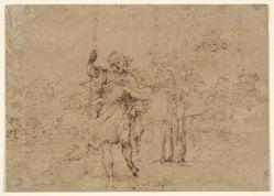 Saint Christopher (or Saint Roch?) in a Landscape