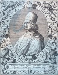 Portrait of Angelo Poliziano (recto); Offset of Portrait of Josephus Justus Scaliger (verso)