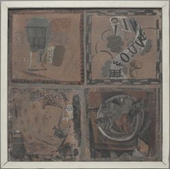 Four paintings on tile (Quatre peintures sur un carreau)