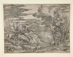 River landscape with a Boy Leading a Horse, a Man Seated in the Foreground