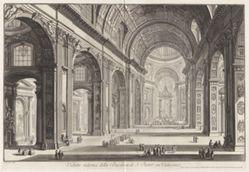 Veduta interna della Basilica di S. Pietro in Vaticano (Interior View of the Basilica of Saint Peter's in the Vatican), from Vedute di Roma (Views of Rome)