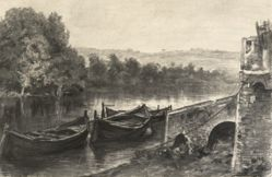 Boats by a Stone River Landing
