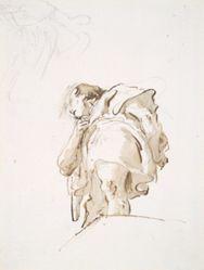 Standing male figure seen obliquely from below