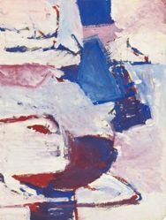 Untitled [Red, Blue and White] (recto); Seated Male and Female Figures (verso)