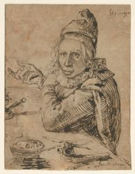 Recto: A Youth Seated at a Table; Verso: Head of a Child with Curly Hair