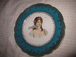 Portrait Plate of Louise of Prussia with Blue Gilt Flower Border