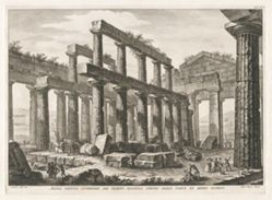 Altra veduta interiore del tempio esastilo ipetro dalla parte di mezzo giorno (Another Interior View of the Hexastyle Hypaethral Temple from the South), from Antichità di Pesto (Antiquities of Paestum)