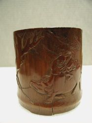 Brush Pot, with a boy on a buffalo