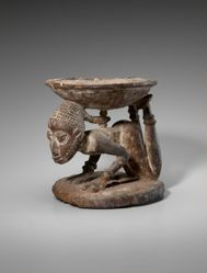 Kola Nut Bowl Supported by a Human Figure