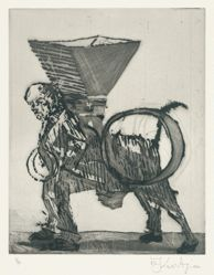 Zeno at 4am (man/beast) 2001, from suite of 9 etchings