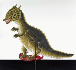 Shadow Puppet (Wayang Kulit) of a Dinosaur or Jurassic Park