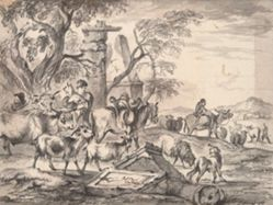 Cattle and shepherds near ruins