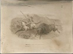 Native American Bison Hunt Printing Plate