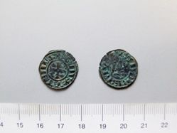 Billon denier of William or Guy I from Thebes