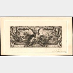 $5 Silver Certificate face essay proof