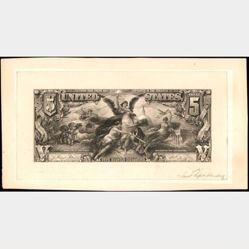 $5 Silver Certificate face essay proof