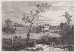 View of a Town on a River Bank, from the series Vedute (Views)