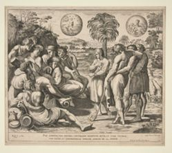 Per Somnium vidi, Fratres, Consurgere Manipulum Meum, et Stare Vestros. / Vidi Solem, et Lunam & stellas Undecim Adorare me. Gen. XXXVII.