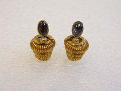 Pair of Tiered Cord Fasteners or Ear Ornaments with Gems