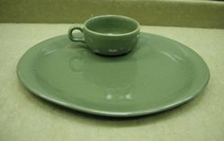 """""""American Modern"""" hostess plate and cup"""