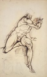 Male nude and seated hermit (recto); Male nude (verso)