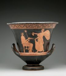 Red-figure Calyx Krater; A: Nike and Poseidon; B: Woman and Old Man