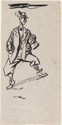 Man Holding Woman's Head (recto); Three Sketches (verso)