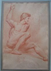 A seated male nude with raised arm